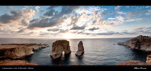 sunset sea sky panorama lebanon water rock clouds beirut لبنان بيروت rawshe الروشة