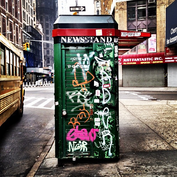 Old school newsstand tagged up #walkingtoworktoday