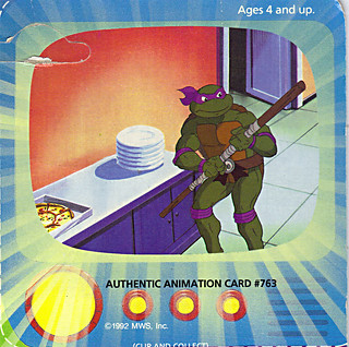 """TOON TURTLES"" TEENAGE MUTANT NINJA TURTLES :: TOON DON  ..Authentic Animation Card #763  - isolated (( 1992 ))"
