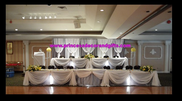 Platinum Silver White Backdrop Wedding Decor Head Tables BLING