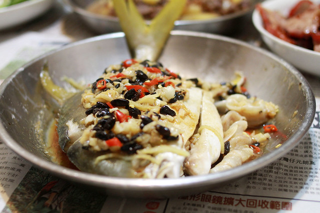 Steamed pomfret with preserved black bean, garlic and chilli