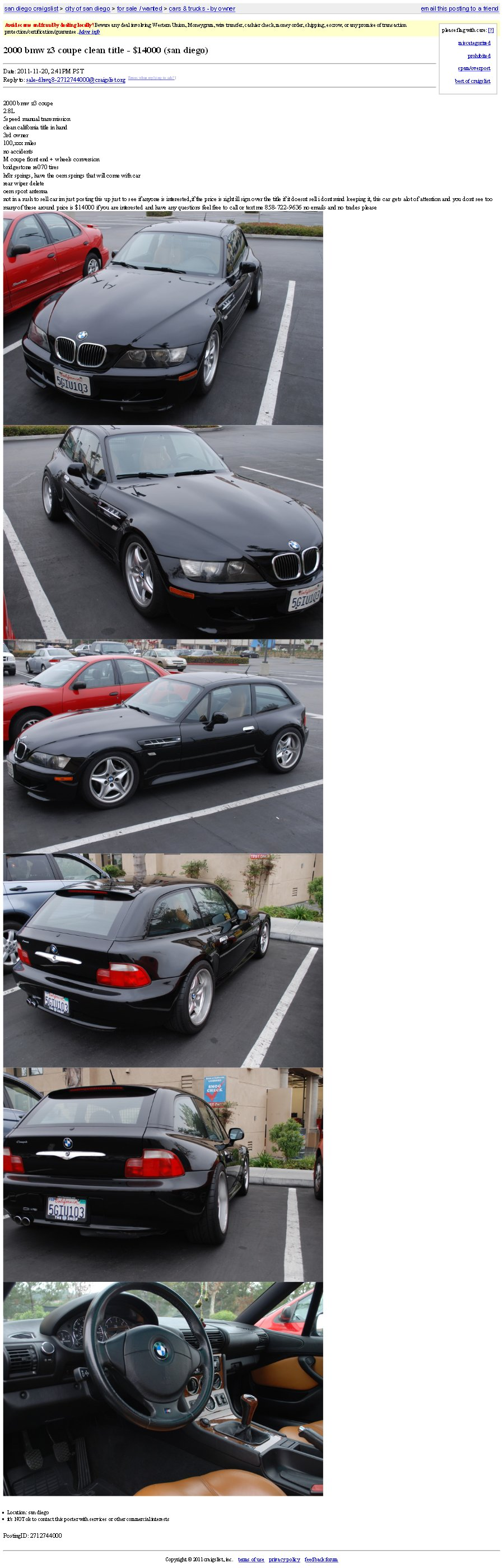 2000 Z3 Coupe | Jet Black | Walnut | San Diego, CA Craigslist