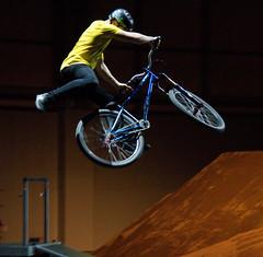 freestyle motocross(0.0), mountain bike(0.0), bmx bike(0.0), freeride(0.0), flatland bmx(0.0), bmx racing(0.0), bicycle motocross(1.0), wheel(1.0), vehicle(1.0), sports(1.0), freestyle bmx(1.0), sports equipment(1.0), cycle sport(1.0), extreme sport(1.0), bicycle frame(1.0), bicycle(1.0),