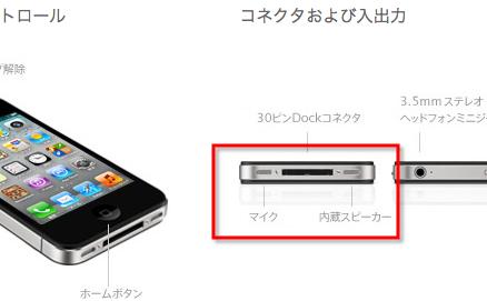 iPhone の内蔵スピーカーとマイク