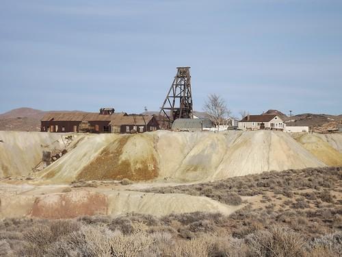 gold nevada mines goldfield headframes