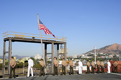 TOWNSVILLE, Australia (July 7, 2011) Sailors and Marines onboard the forward-deployed dock landing ship USS Germantown (LSD 42) man the rails as the ship arrives in Townsville, Australia. (U.S. Navy photo by Mass Communication Specialist 1st Class Johnie Hickmon)