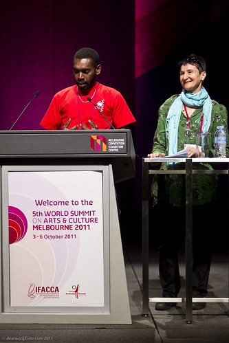 "Danny Marcel and Jo Dorras, Wan Smolbag theatre company, Vanuatu deliver a keynote on ""People"""