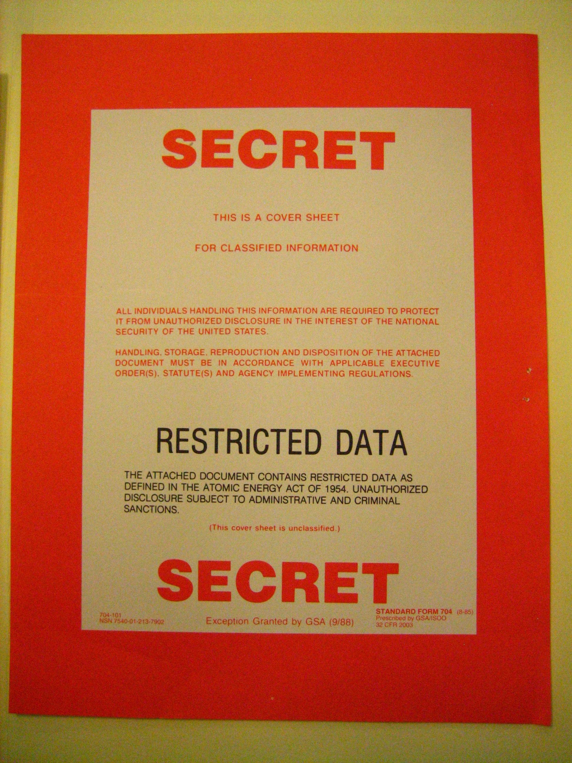 """Secret/Restricted Data"" cover sheet | Flickr - Photo Sharing!"