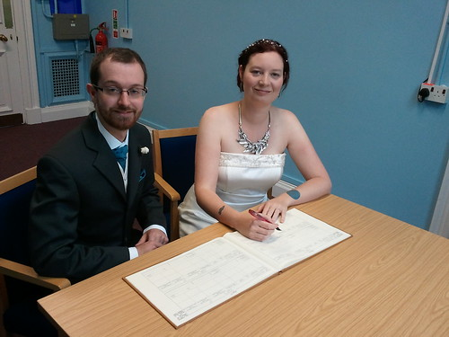 Dan and Laura at the registry office