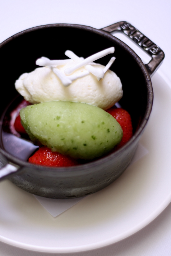 strawberry compote with basil ice cream