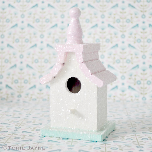 Glittered Bird house decoration