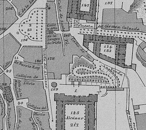 Detalle del plano de Toledo en 1882 por Reinoso