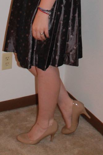 Outfit - early 1960s party dress, nude shoes, vintage swing coat