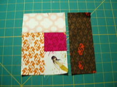 Wonky Log Cabin Block - step 4