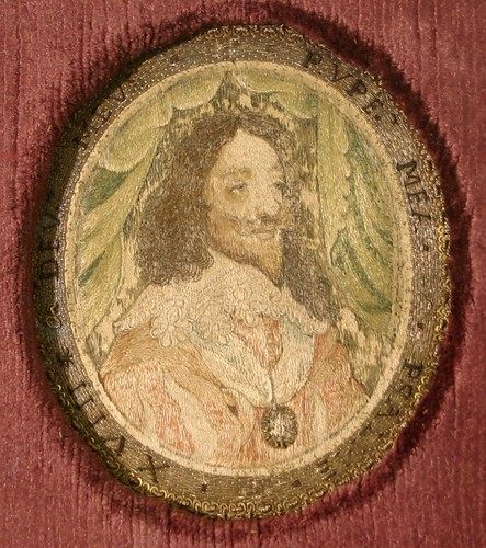 A 17th Century silk oval medallion depicting Charles I, measuring just 9cm by 8cm, carries an estimate of £800 to £1,200