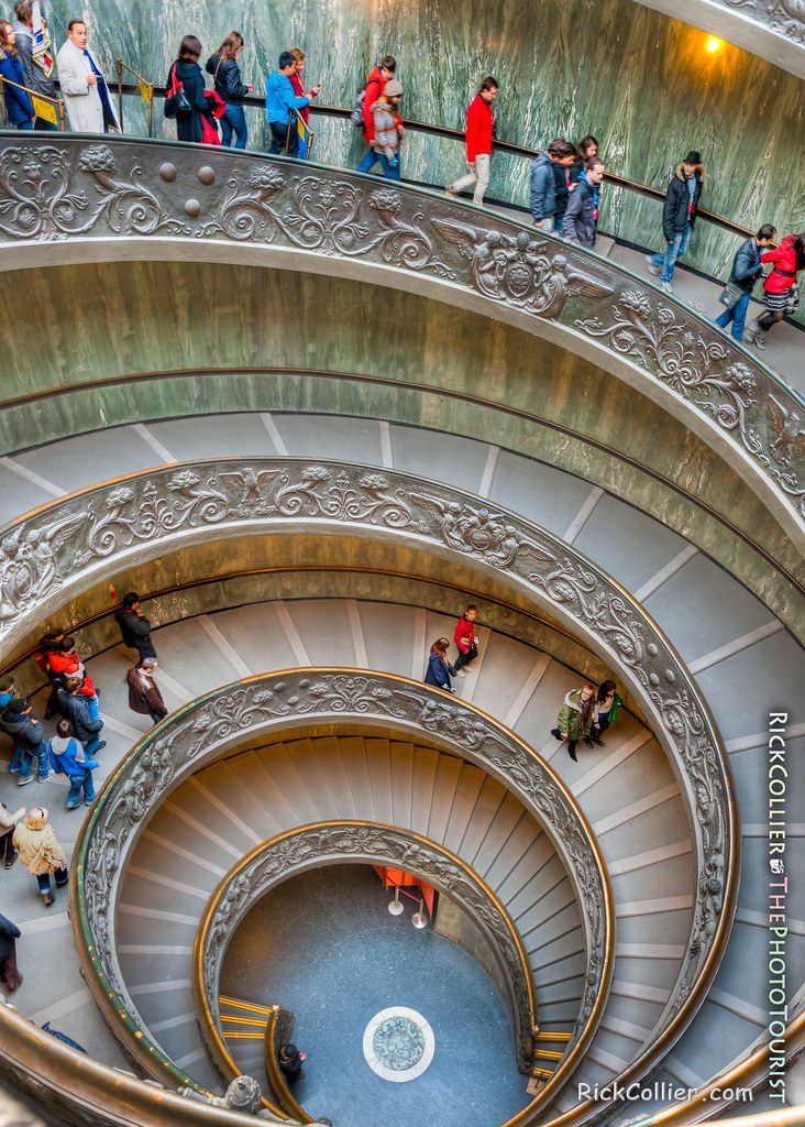 A tour group ventures down the spiral steps in the Vatican Museum (HDR image).
