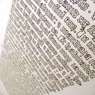 Gutenberg Bible page drawn out by a polargraph machine