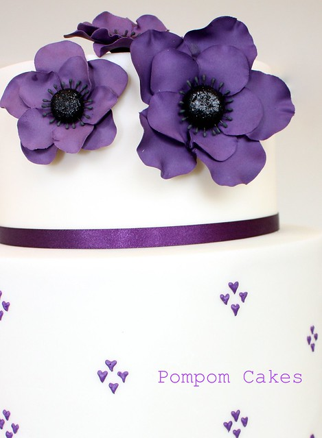 The wedding colour was purple and deep purple anemones were featured in the