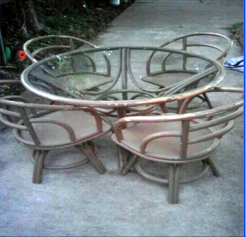Rattan Dinette Table and Chairs - $60