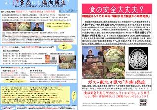 韓国産キムチ関連2種(A4) 左:食品にも偏向報道?あなたの食卓SOS/右:食の安全大丈夫?