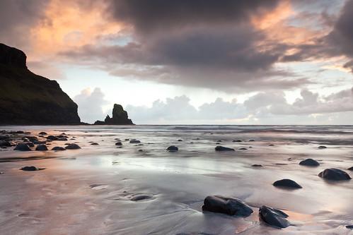 sunset seascape reflection clouds golden bay sand rocks talisker