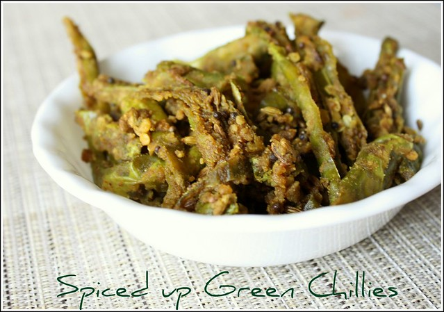 spiced up green chillies