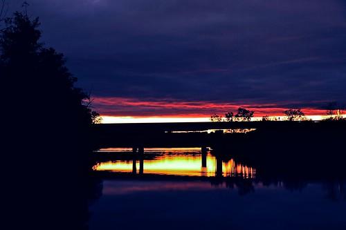 bridge autumn sunset sky reflection fall clouds river evening nikon october michigan annarbor huronriver goldenhour galluppark 2011 us23 d3000 aperture3