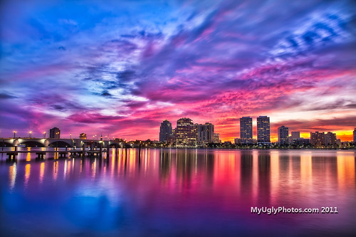 sunset reflection october westpalmbeach intercoastal 2011 canon5dmkii myuglyphotoscom ryansexton hdrokeechobeebridgephillipspoint sunsettrumptowers