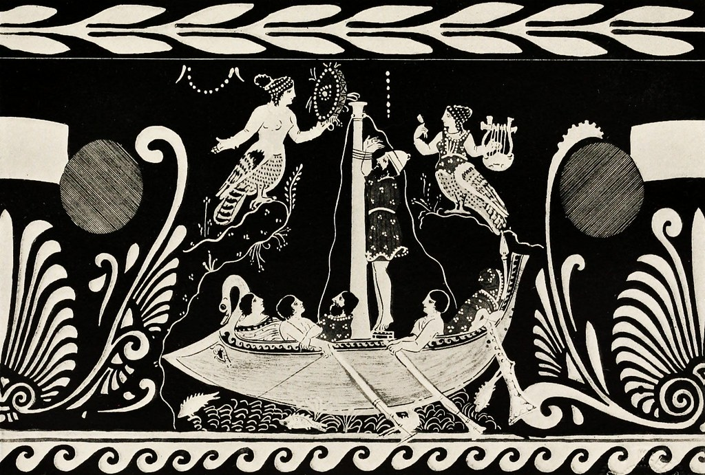 Archaic Greek Vase painting: Sirens with frame drum and ...