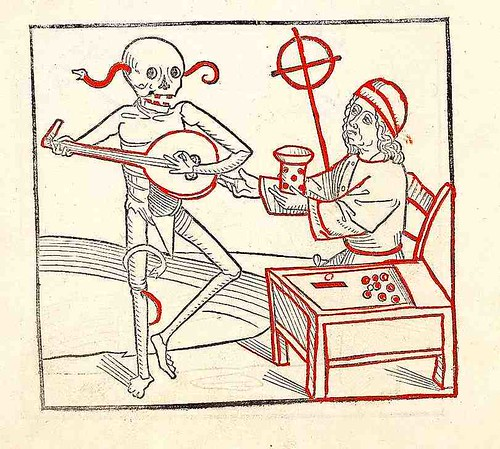"Music to Dance to. ""Der doten dantz mit figuren"" . ca. 1488. U of Heidelberg by tony harrison"