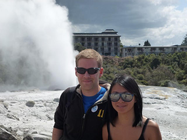 Standing by the largest geyser at Te Pui