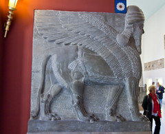 assyrian guardian in the form of a man headed winged bull