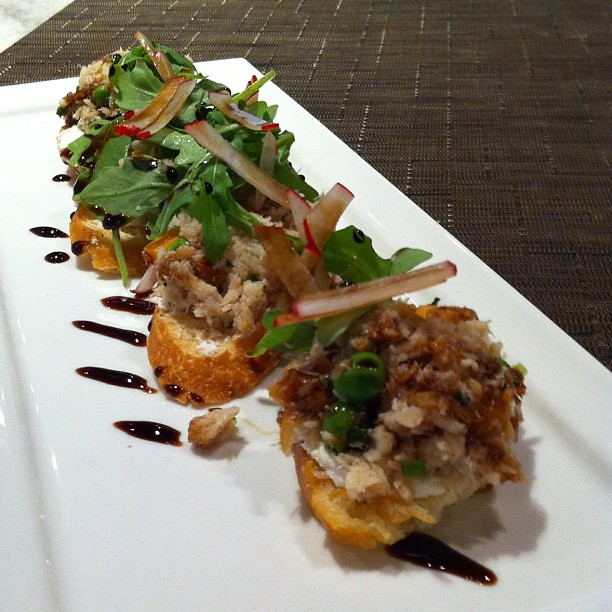 Smoked trout bruschetta with peas, sweet potato, goat chee… | Flickr ...