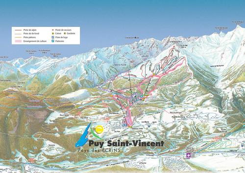 Puy St. Vincent - mapa sjezdovek