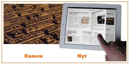 Sanomalehden painolaatasta Apple iPad -lehteen
