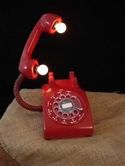 Upcycled Red Vintage Telephone Lamp