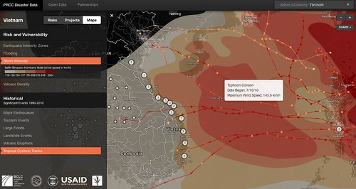 Significant storms to hit Vietnam in past 20 years + all three data layers on same country map of Vietnam