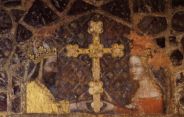 Nicolas Wurmser of Strasbourg.Emperor Charles IV and his wife Anne of Swidnica adore the cross.1350s.KarlstejnCastle,Ch. of Relics of Suffering of the Lord.W.wall