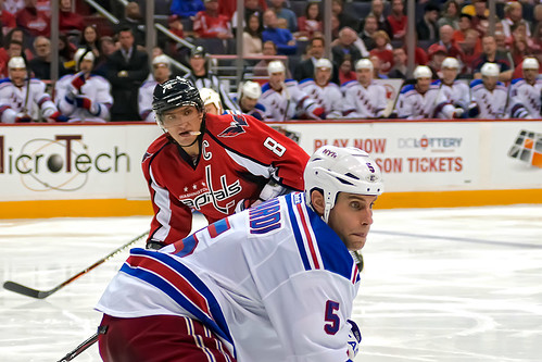 Ovechkin Looks Over Girardi