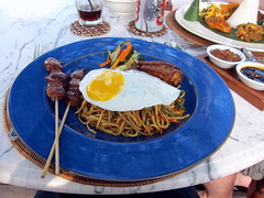 Mie Goreng with Satay -- put an egg on it!