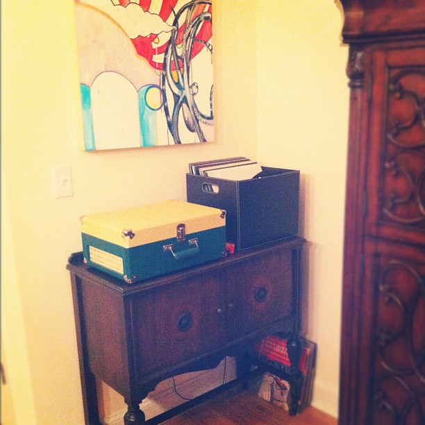 "#acornerofyourhome #marchphotoaday #day18 our antique record ""cabinet"" that was my great grandmothers + my moms"
