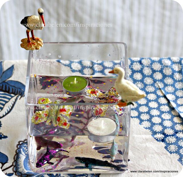 Mini estanques como centros de mesa improvisados con agua