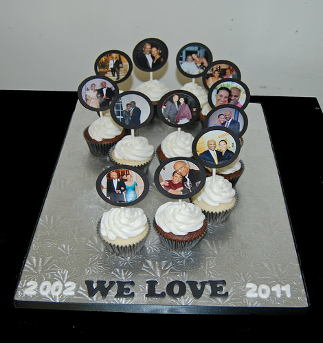 9th wedding anniversary cupcake display with cupcake photo toppers