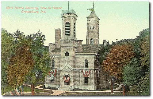 usa color history buildings indiana flags celebration greensburg courthouse clocks decaturcounty hoosierrecollections