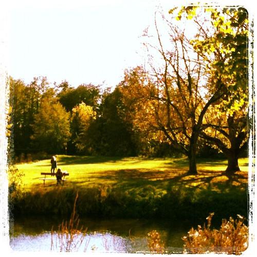 喝了酒後,在小鎮附近閒逛,享受美好的秋日陽光。