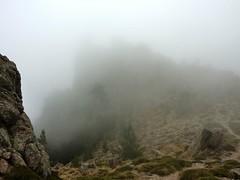 Bocca di Fumicosa : vers Punta di Ferru dans une brume complète - Le col mérite bien son nom ce jour-là !!)