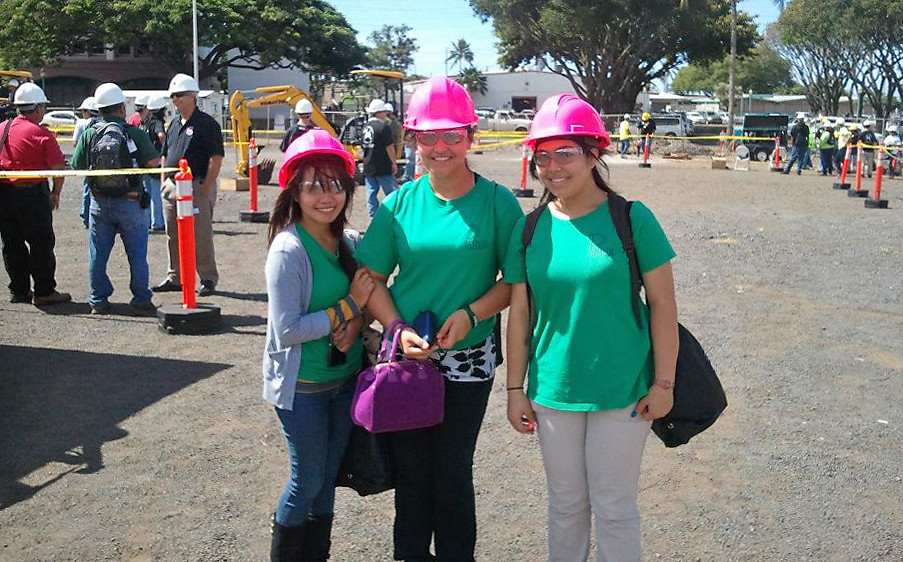 <p>Approximately 30 high schools from across the state participated in the event including these three students visiting from Pahoa.</p>