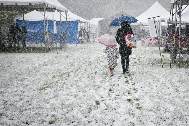 A rare October snow storm hits Ghouls & Gourds 2011. Photo by Mike Ratliff.