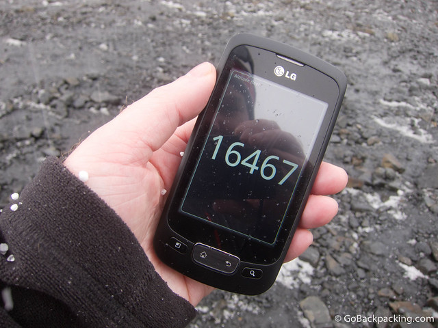 GPS puts me at 5,020 meters (16,467 feet) above sea level