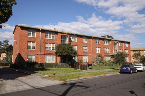 More walkup flats in the Housing Commission estate in Ascot Vale: front view